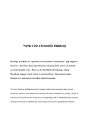 BUS 642 Week 1 DQ 1 Scientific Thinking