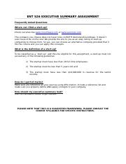 ENT526 - Executive Summary Assignment Sample Template Revised W2012