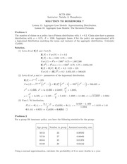 Homework 7 Solution on Construction and Evaluation of Actuarial Models