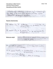 Mole Factor Calculation Answers
