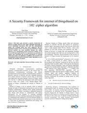 A Security Framework for internet of thingsbased on SM2 cipher algorithm