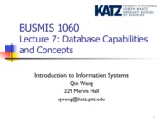 Lecture 7-Databse Capabilities and Concepts