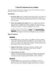 2 Pages Critical Evaluation Essay Outline Spr 2017 1