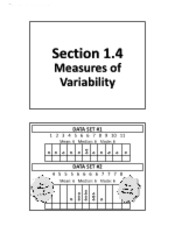 1.4 - Measures of Variability (No Solutions)
