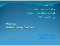 TELE13167-Module3-2-Networking Devices pdf - Agenda