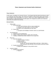gen201 r4 thesis statement outline worksheet Your thesis statement states what you will discuss in your essay not only does it define the scope and focus of your essay, it also tells your reader what to expect from the essay a thesis statement can be very helpful in constructing the outline of your essay also, your instructor may require a thesis.