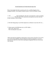 Focused Questions for Written Reaction Paper