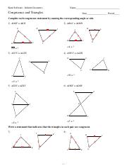 4 Congruence And Triangles Pdf Kuta Software Infinite Geometry Name Congruence And Triangles Date Period Complete Each Congruence Statement By Naming Course Hero