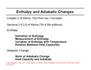3 Enthalpy and Adiabatic Changes