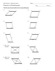 Worksheets Properties Of Parallelograms Worksheet 6 properties of parallelograms t 4 2 x o 1 3 z 7 k u c e a h s p f b w l r q