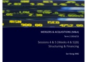 M&A Sessions 4 & 5 M&A Structuring & Financing (B)