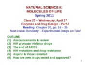 MOL CLASS 23 - Enzymes and Drug Design (Part 2) (class notes S11)