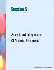 Session 5 -Analysing and interpreting financial statements - Chapter 6