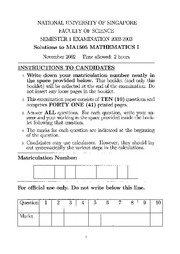 MA1505 2002 to 2005 Exam&Solutions Selections