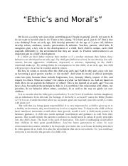 Ethics and Morals.docx