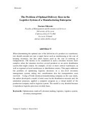 2014_Milewski_EOQ_The problem of Optimal Delivery Sizes in the Logistics System of a Manufacturing E