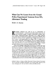 What Can We Learn from the Grand Policy Experiment...