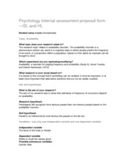 Psychology internal assessment proposal form