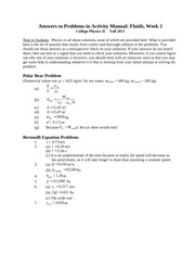 college physics 2 worksheet solutions fluids 1 answers to problems