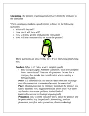 FOUR P's of marketing notes