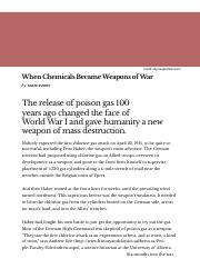 When Chemicals Became Weapons of War « 100 Years of Chemical Weapons