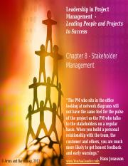 Leadership in Project Management - Chapter 8 - Instructor Slides - May 14, 2013