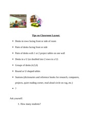tips on Classroom Layout
