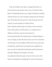 Paper outlining Planet of the Apes plot