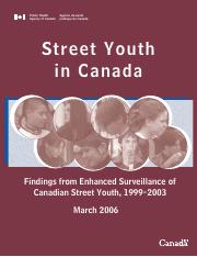 Public Health Agency of Canada- 2006 Street Involved Youth