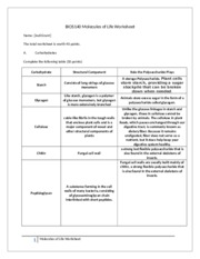Assignment - Molecules of Life Worksheet - BIOS140 Molecules of Life