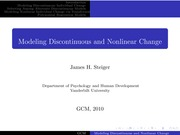 Psychology 319 (GCM)_Steiger_Lecture Notes on Modeling Discontinuous and Nonlinear Change
