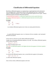 Classification of Differential Equations