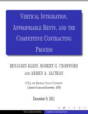 1. Klein - Vertical Integration Appropriable Rents,and the Competitive Contracting Process