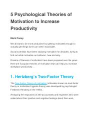 5 Psychological Theories of Motivation to Increase Productivity