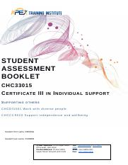 SAB CHCDIV001 Work with diverse people  CHCCCS023 Support independence and wellbeing.docx