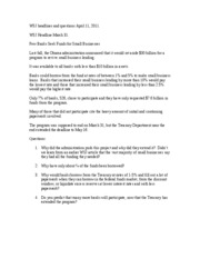 WSJ headlines and questions for April 11 2011