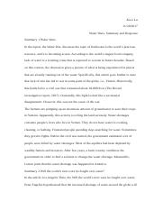 Water Wars, Summary and Response.docx