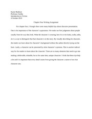 Chapter Four Writing Assignment