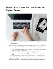 How to Fix a Computer That Shows No Sign of Power.docx