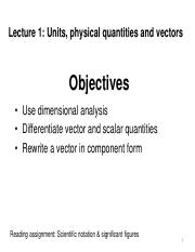 1stLE Lecture 01 - R1 Units, physical quantities and vectors part 1