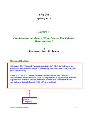 Lecture 3 - Fundamental Analysis of Crop Prices - The Balance Sheet Approach, STUDENT, Spring 2013