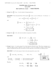 MATH 2300 Exam 2 (Spring 2007) & solutions