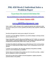 uop PHL 458 Week 2 Individual Solve a Problem Paper.doc