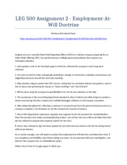 LEG 500 Week 4 Assignment 1 - Employment-At-Will Doctrine - Strayer University NEW