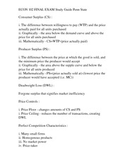 ECON 102 FINAL EXAM Study Guide Penn State