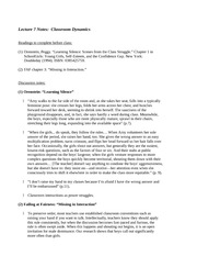 Lecture 7 Notes Classroom Dynamics