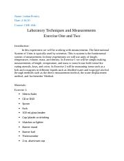 Laboratory Techniques and Measurements Exercise One and Two.docx
