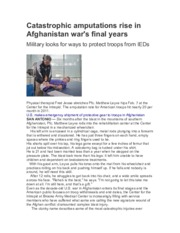 Catastrophic amputations rise in Afghanistan war