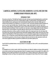 GARFIELD, ARTHUR, CLEVELAND, HARRISON AND THE ROBBER BARON PERIOD (1881-1897) modlue 2.doc