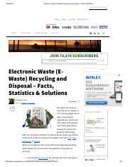 Electronic Waste (E-Waste) Recycling & Disposal - Facts & Statistics